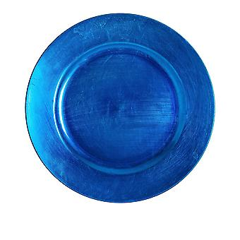 Argon Tableware Single Round Charger Plate - Brushed Metallic Finish - 33cm - Blue