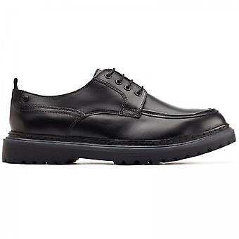 Basis London Rene Herren Leder Derby Schuhe schwarz