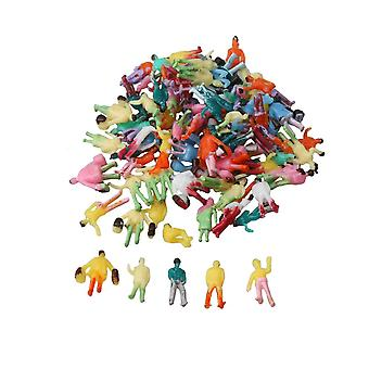 100PCS Mix Scale Figures 1:200 Painted Colorful People Passenger Street Scenes