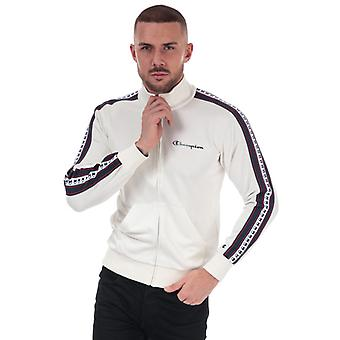 Heren's Champion Taped Sleeve Track Top in White