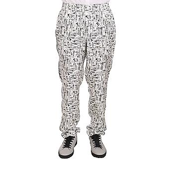 Dolce & Gabbana White Trumpet Silk Lounge Sleepwear Pants