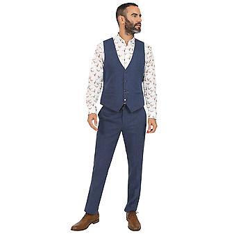 Jenson Samuel Lincoln Blue Herringbone Waistcoat