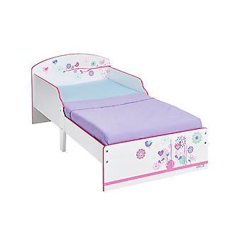 Kwiaty i ptaki toddler łóżko plus materac światłowodowy