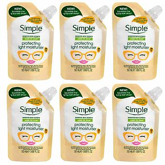 6 x 50ml Simple Protecting Light Moisturiser Pouches With SPF 15 Formula