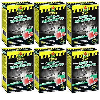 Sparset: 6 x COMPO Cumarax® rat and mice bait Pro, 240 g