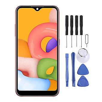 Original PLS TFT Material LCD Screen and Digitizer Full Assembly (Flex Cable Narrow) for Galaxy A01(Black)