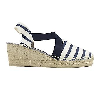Toni Pons Tarbes Ecru-Navy Canvas Womens Pull On Espadrille Shoes