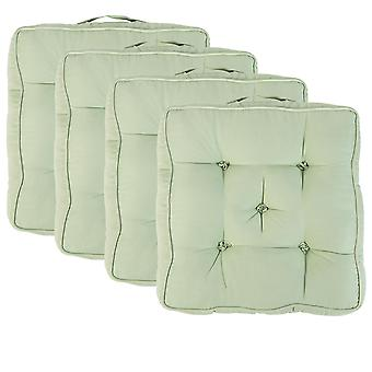 """Green Pack of 4 Cotton Armchair Booster Cushion 4"""" Thick Seat Pad"""