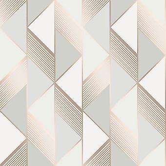 Lipsy Geométrico Fondo de pantalla gris / oro rosa Muriva 144902