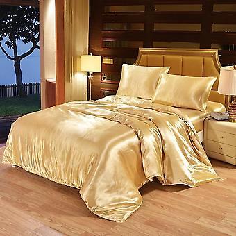 4pcs Luxus Seide Bettwäsche Set Satin Queen King Größe Bett Set Komfort Quilt