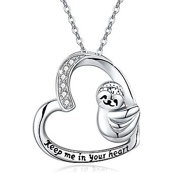 Sloth Gifts for Women 925 Sterling Silver Smile Sloth Cute Animal Heart Necklace