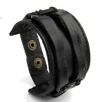 Unisex Leather Cuff Double Wide Bracelet