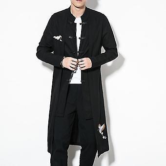 Kinesisk stil toppar Coat Linne Broderi & Crane Casual lång klänning kläder