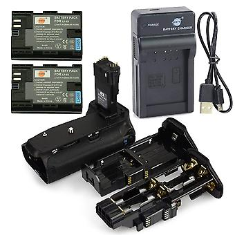 Dste bg-e14 battery grip + 2x lp-e6 battery + usb charger for canon eos 70d 80d