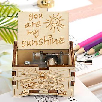 You Are My Sunshine Music Box Creative Engraving Pattern Wooden Hand Cranked
