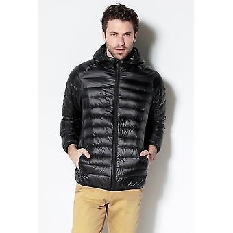 Men White Duck Down Jacket New Portable Hooded Down Coat