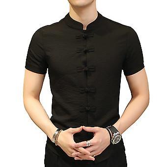 חולצת יאנגפאן לגברים בצבע אחיד שרוולים קצרים