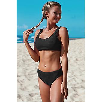 Sport Crop Top Mid Rise Bottom Two-piece Swimsuit