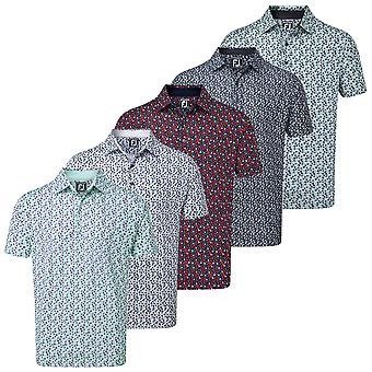 Footjoy Mens Lisle Flower Print Moisture Wicking Golf Polo Shirt