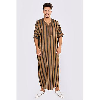 Gandoura men's short sleeve long striped thobe in black & brown