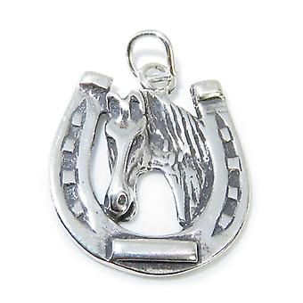 Horseshoe With Horse Sterling Silver Charm .925 X 1 Horses Charms - 8334