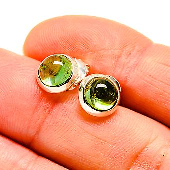 "Green Tourmaline Earrings 3/8"" (925 Sterling Silver)  - Handmade Boho Vintage Jewelry EARR411034"