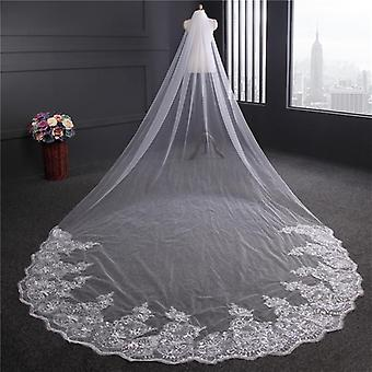 Ivory Cathedral Wedding Veils, Long Lace, Edge Bridal Veil With Comb, Wedding