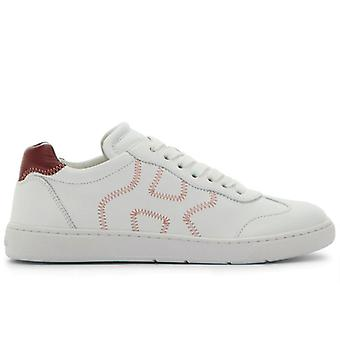 Sneaker Donna Hogan H327 Bianca E Bordò In Pelle