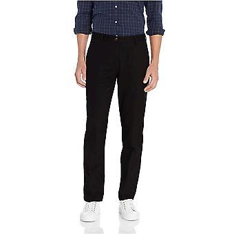 Essentials Män & s Straight-Fit Wrinkle-Resistant Flat-Front Chino Pant, True Black, 35W x 34L