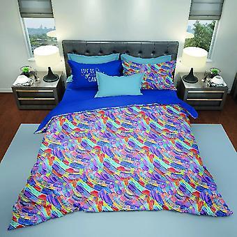 Couvercle de couette en toile de coton multicolore parure, L150xP200 cm, L52xP82 cm