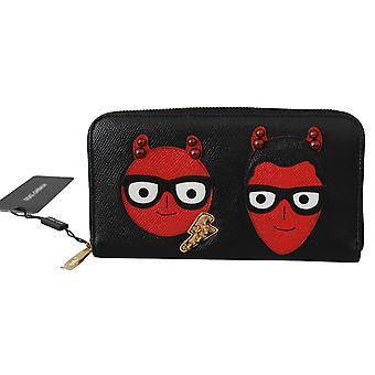 Black #dgfamily Evil Continental Clutch Leather Wallet