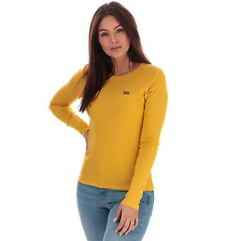Women's Levis Long Sleeve Baby T-Shirt in Gold