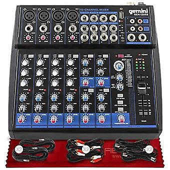 Gemini compacto profissional 12 canais bluetooth habilitado misturador de áudio analógico gem-012usb + trs/xlr/rca kit de cabo & fibra de tecido de limpeza de microfibra