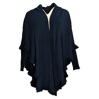 Colleen Lopez Women's Sweater Open Front Ruffle Poncho Blue 731238