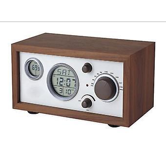 SY-601 Retro Design Wooden Compact Digital FM Radio with LED Time temperature Display Alarm Clock