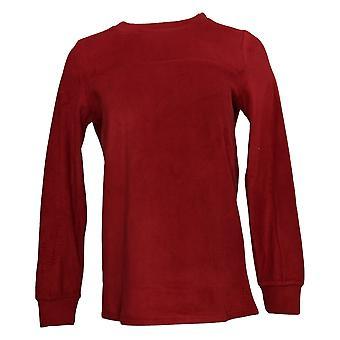 Cuddl Duds Women's Sweater Fleecewear Stretch Crew Neck Red A381759