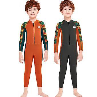الأطفال wetsuit طويلة الأكمام قطعة واحدة الأشعة فوق البنفسجية حماية ملابس السباحة الحرارية dfse-19