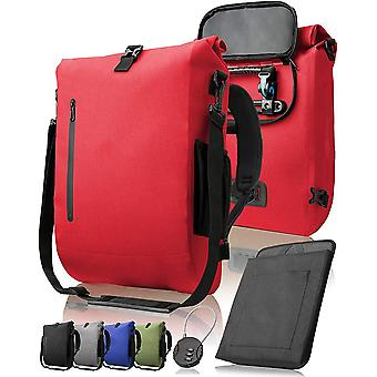 3-in-1 bicycle bag, backpack, shoulder bag, waterproof 100% PVC free, with laptop compartment Red