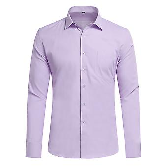 Yunyun Men's Lapel Solid Color Fine Twill Business Long-sleeved Shirt