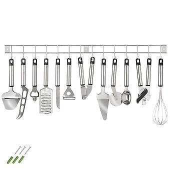 tectake Køkkenredskaber i rustfrit stål med vægstang - 13 dele - sølv