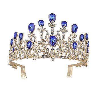 Luxury Crowns Bridal Tiaras Baroque Vintage Gold Rhinestone Crystal Crown With Comb Wedding Hair Accessories