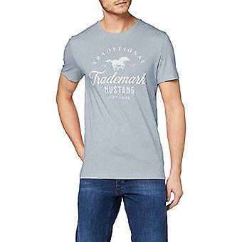 MUSTANG Aaron C Print T-Shirt, Blue (Faded Denim 5124), Small Man