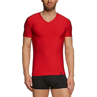 Bruno Banani - Regular Fit Striped T-shirt with V-neck, Man, Multicolor (Mehrfarbig (1103 Rot/Schwarz Streifen)), 7- DE