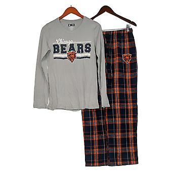 NFL Conjunto de pijama femenino Reg Manga Larga Superior con pantalones de franela gris A387687