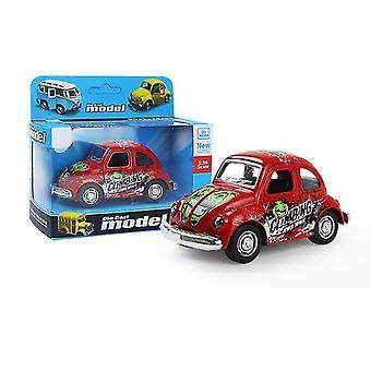 خنفساء سيارة صغيرة حمراء سحب سيارة انزلاق سبيكة، نموذج سيارة محاكاة مع يمكن فتح الباب az9088
