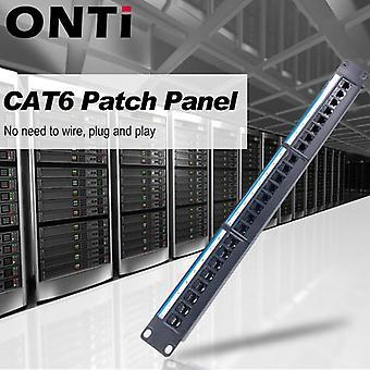 24-port Cat6 Patch Panel Rj45-kabeladapter Modulær distributionsramme
