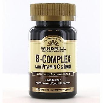 Windmill Health Vitamin B Complex With Iron, 100 Tabs