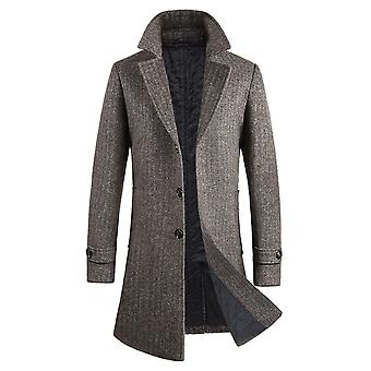 Yunyun Men's Solid Color Three Button Single Breasted Slim Fit Long Jacket Coat