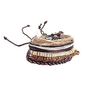 Adjustable Multilayer Vintage Bracelet Wooden Beaded Bangle Braided Cuff