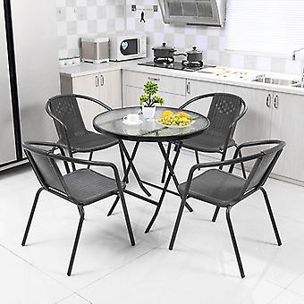 Table pliable ronde en métal noir extérieur et 4 chaises
